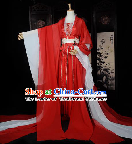 Chinese Ancient Cosplay Tang Dynasty Princess Fairy Wedding Red Dress, Chinese Traditional Hanfu Clothing Chinese Palace Lady Costume for Women