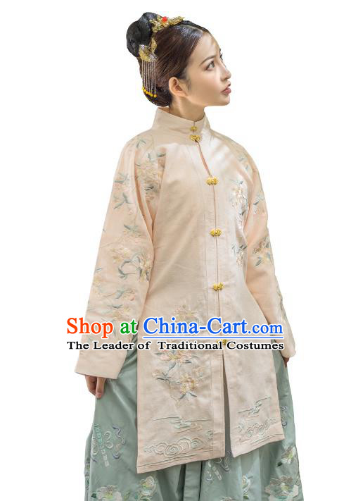 Traditional Ancient Chinese Ming Dynasty Imperial Concubine Costume Embroidery Long Gown Dress, Chinese Palace Lady Upper Outer Garment for Women