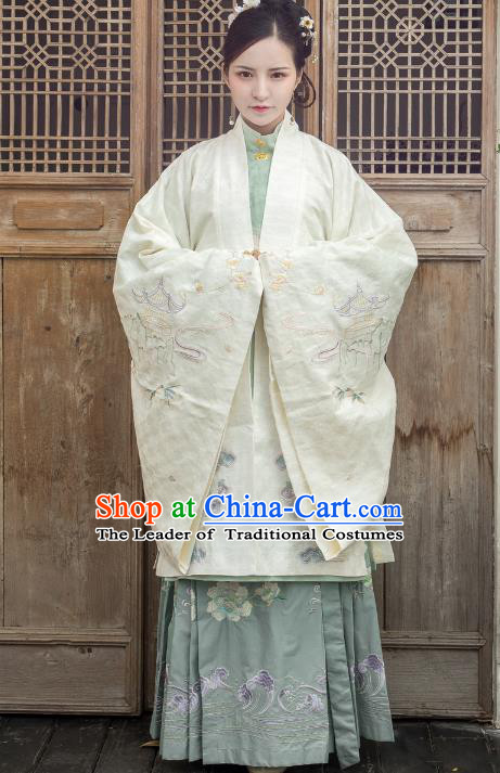 Traditional Ancient Chinese Ming Dynasty Nobility Dowager Costume Embroidery Cloak, Chinese Palace Lady Cardigan Upper Outer Garment for Women