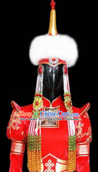 Traditional Handmade Chinese Mongol Nationality Handmade Princess Hat, China Mongols Mongolian Minority Nationality Wedding Headwear for Women