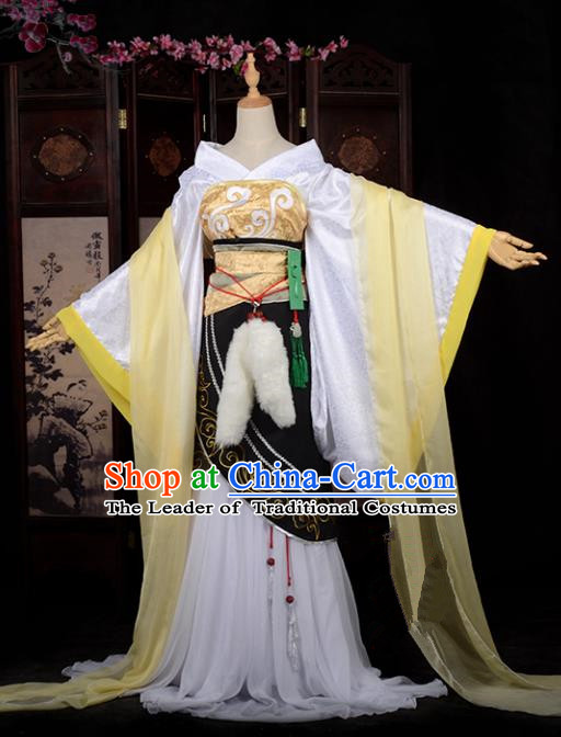 Chinese Ancient Cosplay Tang Dynasty Princess Embroidery Yellow Dress, Chinese Traditional Hanfu Clothing Chinese Fairy Costume for Women