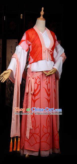 Chinese Ancient Cosplay Tang Dynasty Princess Embroidery Red Young Lady Dress, Chinese Traditional Hanfu Clothing Chinese Fairy Costume for Women