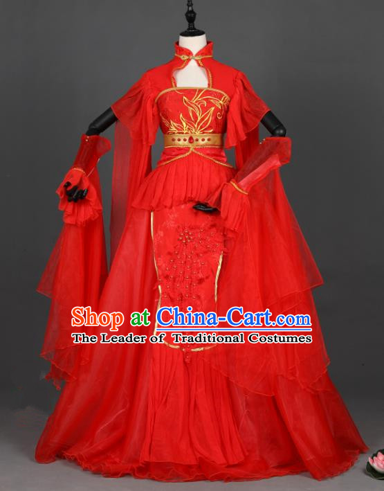 Chinese Ancient Cosplay Tang Dynasty Bride Wedding Red Dress, Chinese Traditional Hanfu Clothing Chinese Princess Fairy Costume for Women