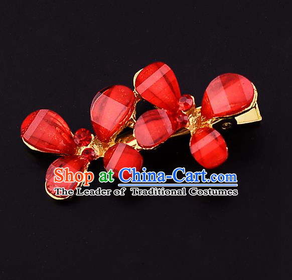 Traditional Handmade Chinese Ancient Classical Wedding Hair Accessories Bride Red Flowers Hair Stick, China Princess Hairpins Headwear for Women