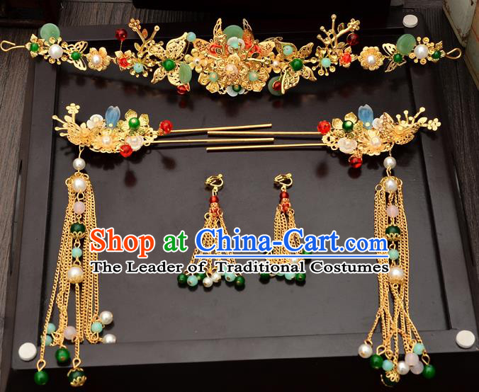 Traditional Handmade Chinese Ancient Classical Hair Accessories Xiuhe Suit Barrettes Hairpin, Step Shake Hair Sticks Hair Jewellery, Hair Fascinators Hairpins for Women
