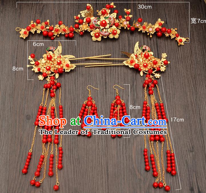 Traditional Handmade Chinese Ancient Classical Hair Accessories Xiuhe Suit Red Beads Hairpin, Step Shake Hair Sticks Hair Jewellery, Hair Fascinators Hairpins for Women