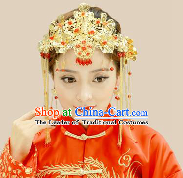 Traditional Handmade Chinese Ancient Classical Hair Accessories Xiuhe Suit Red Beads Golden Hairpin Complete Set, Step Shake Hair Sticks Hair Jewellery Hair Fascinators for Women