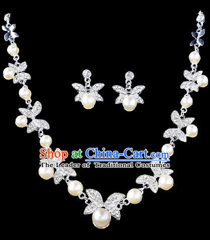 Top Grade Handmade Chinese Classical Jewelry Accessories Baroque Style Crystal Pearl Necklace and Earrings for Women
