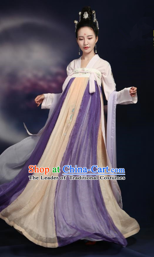 Traditional Ancient Chinese Tang Dynasty Imperial Concubine Embroidery Dance Costume, Chinese Palace Lady Hanfu Dress Princess Clothing for Women