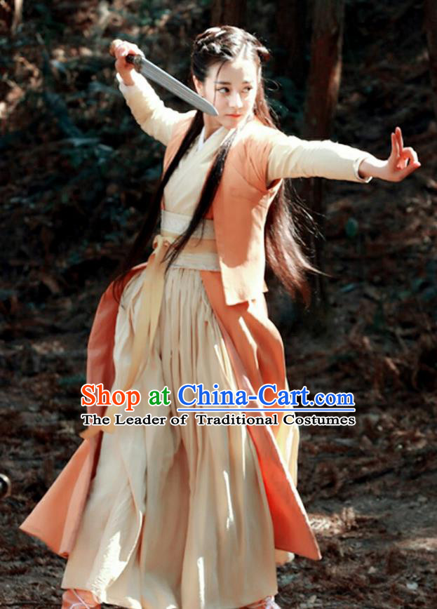 Traditional Ancient Chinese Qin Dynasty Chivalrous Lady Costume and Headpiece Complete Set, Chinese The King Woman Swordswoman Hanfu Clothing