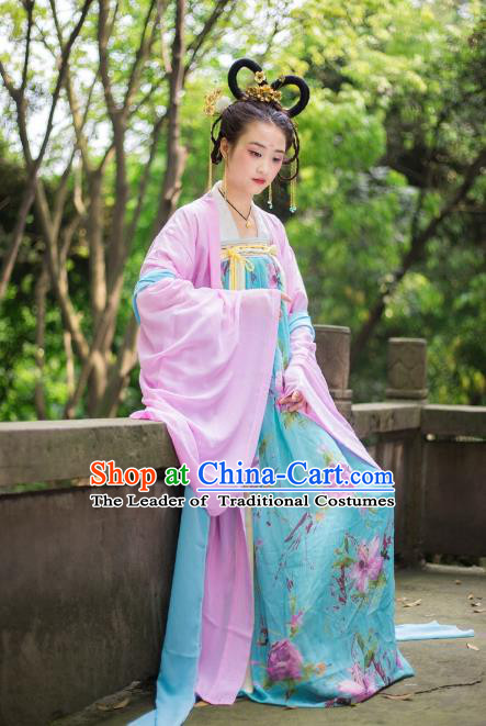 Traditional Chinese Tang Dynasty Imperial Consort Hanfu Costume Cardigan and Dress, China Ancient Dress Palace Princess Peri Embroidery Clothing for Women