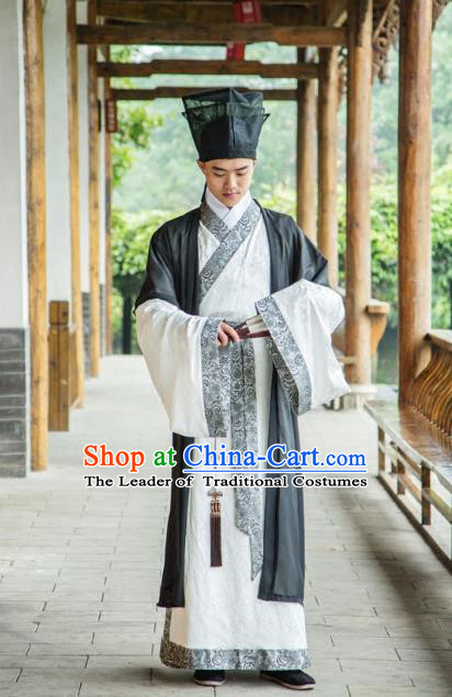 Traditional Chinese Han Dynasty Nobility Childe Hanfu Costume Half-Arm Shawl Long Robe, China Ancient Scholar Black Clothing Complete Set for Men
