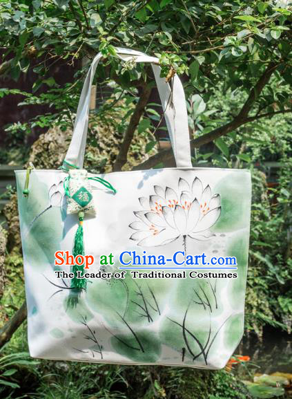 Traditional Handmade Chinese Printing Lotus Green Bags, China Ancient Canvas Handbags for Women
