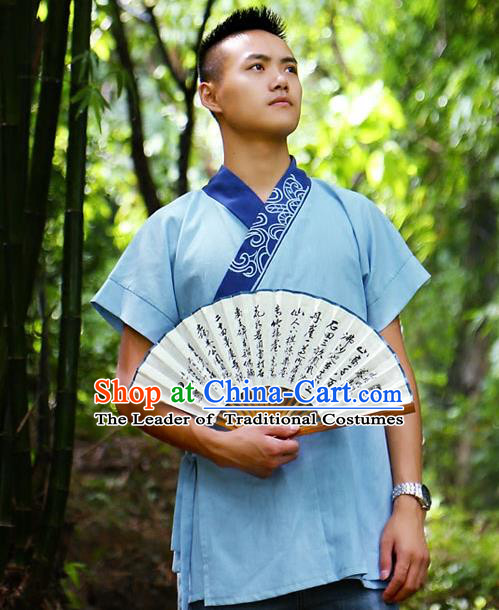 Traditional Chinese Han Dynasty Nobility Childe Hanfu Costume Slant Opening Blue Shirt, China Ancient Martial Arts Embroidery Upper Garment Clothing for Men