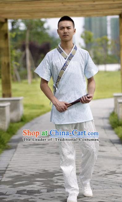 Traditional Chinese Han Dynasty Nobility Childe Hanfu Costume Slant Opening White Satin Shirt, China Ancient Martial Arts Upper Garment Clothing for Men