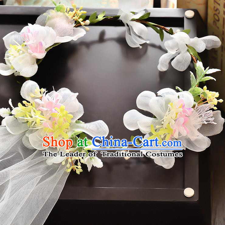 Top Grade Handmade Chinese Classical Hair Accessories Baroque Style Wedding White Flowers Headband and Veil, Bride Hair Sticks Hair Clasp for Women