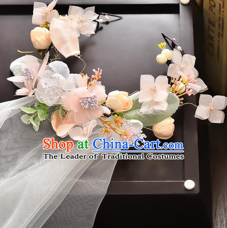 Top Grade Handmade Chinese Classical Hair Accessories Baroque Style Wedding Pink Flowers Garland and Veil, Bride Hair Sticks Hair Clasp for Women