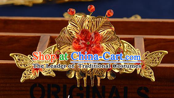 Traditional Handmade Chinese Ancient Classical Hair Accessories Xiuhe Suit Red Flower Hair Comb, Hair Sticks Hair Jewellery Hair Fascinators for Women