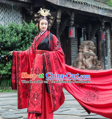 Traditional Chinese Han Dynasty Princess Hanfu Wedding Costume, China Ancient Red Dress Palace Queen Peri Embroidery Clothing for Women