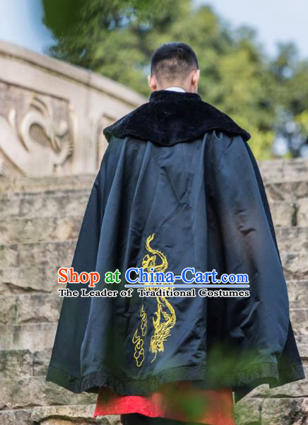 Traditional Chinese Han Dynasty Prince Hanfu Costume Black Cloak, China Ancient Scholar Embroidery Cape Clothing for Men