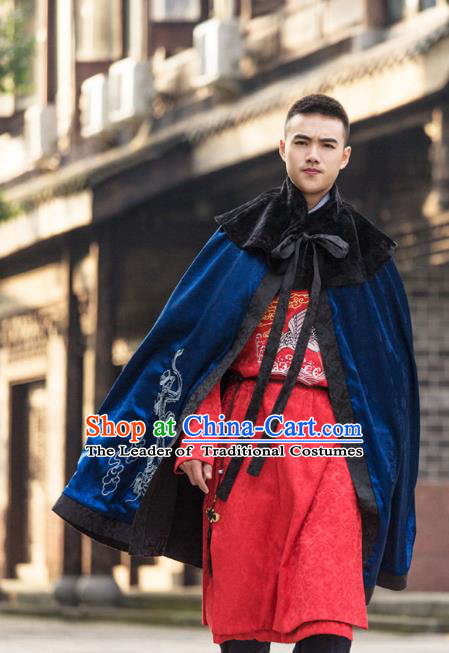 Traditional Chinese Han Dynasty Prince Hanfu Costume Blue Cloak, China Ancient Scholar Embroidery Cape Clothing for Men