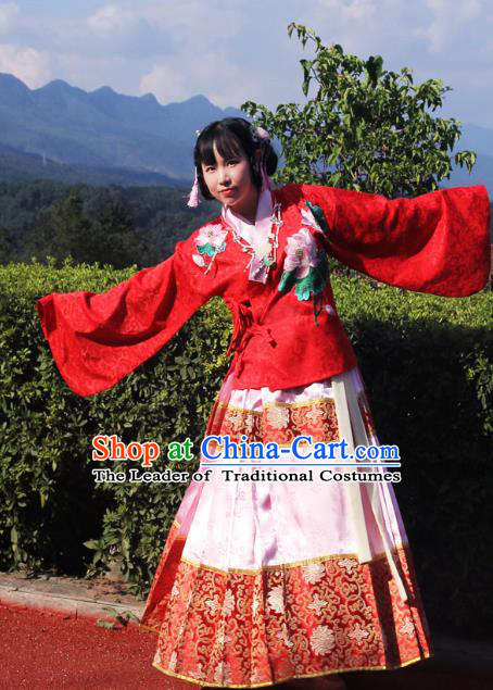 Traditional Chinese Ming Dynasty Imperial Consort Hanfu Costume Pink Horse Face Skirt, China Ancient Dress Palace Princess Embroidery Clothing for Women