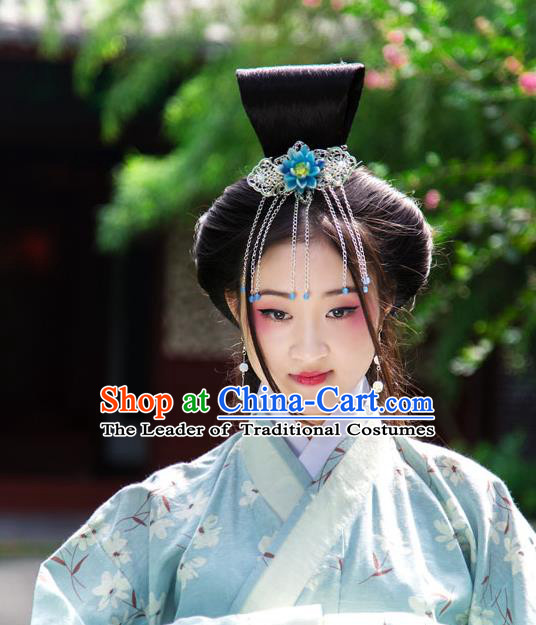 Traditional Handmade Chinese Ancient Classical Hair Accessories Tassel Hairpin, Blueing Hair Sticks Hair Comb, Hair Fascinators Hairpins for Women