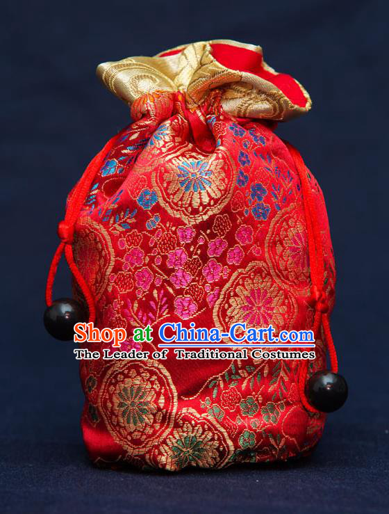 Traditional Handmade Chinese Ancient Young Lady Pouch Red Handbags, China Hanfu Embroidery Satin Sachet for Women