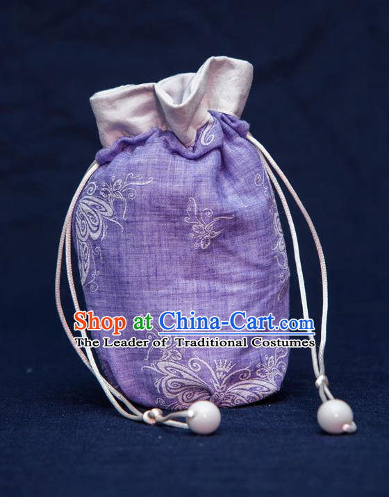 Traditional Handmade Chinese Ancient Young Lady Pouch Purple Handbags, China Hanfu Embroidery Linen Sachet for Women