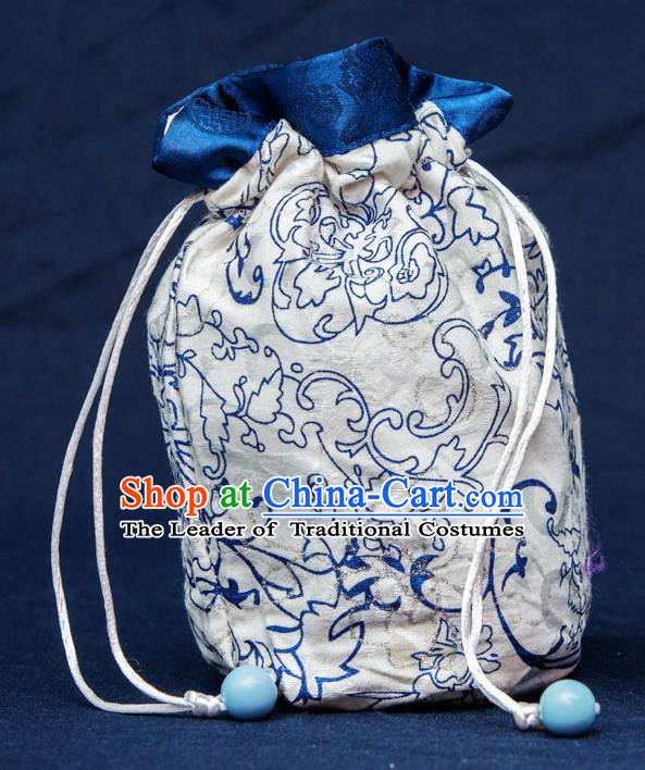 Traditional Handmade Chinese Ancient Young Lady Pouch White Handbags, China Hanfu Embroidery Linen Sachet for Women