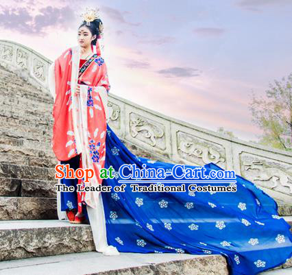 Traditional Chinese Tang Dynasty Imperial Princess Hanfu Wedding Costume, China Ancient Dress Palace Queen Peri Bride Clothing for Women