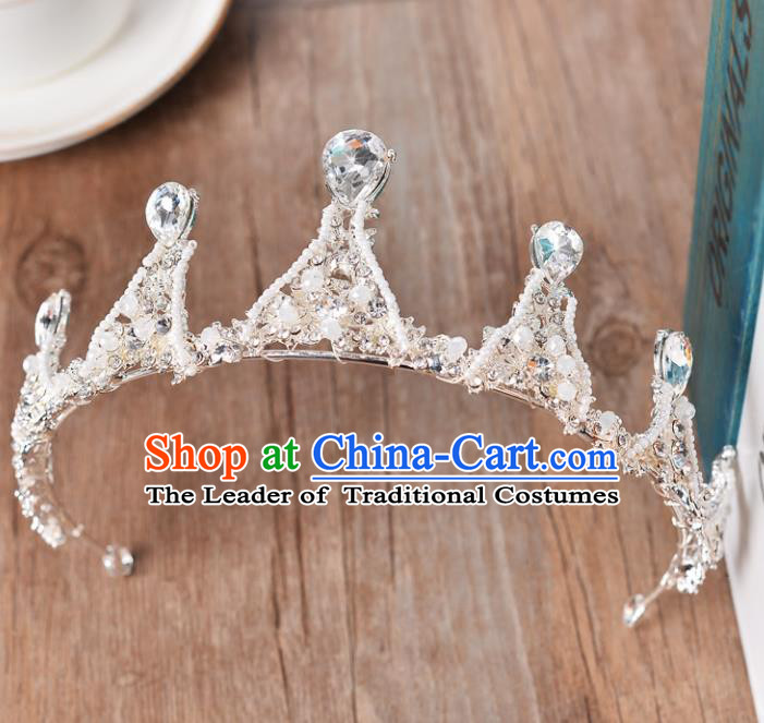 Top Grade Handmade Chinese Classical Hair Accessories Baroque Style Beads Crystal Princess Wedding Royal Crown, Bride Hair Sticks Hair Jewellery Hair Coronet for Women