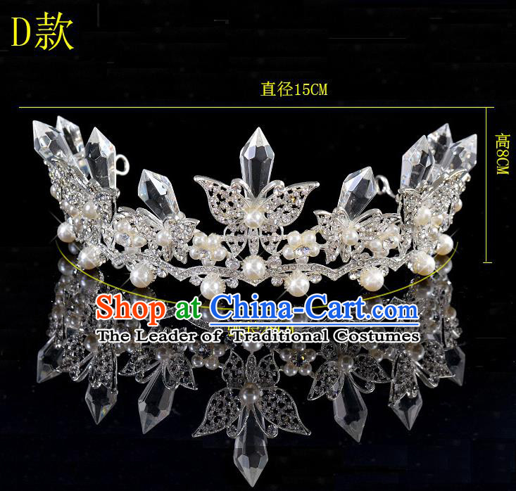 Top Grade Handmade Chinese Classical Hair Accessories Baroque Style Crystal Butterfly Princess Wedding Royal Crown, Bride Hair Sticks Hair Jewellery Hair Coronet for Women