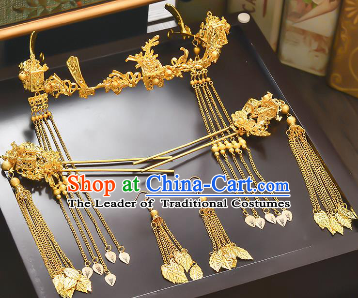 Traditional Handmade Chinese Ancient Classical Hair Accessories Xiuhe Suit Red Tassel Hairpin Step Shake Hair Clasp Complete Set, Hair Sticks Hair Jewellery Hair Fascinators for Women