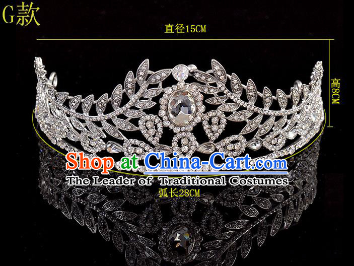Top Grade Handmade Chinese Classical Hair Accessories Baroque Style Crystal Leaf Princess Wedding Royal Crown, Bride Hair Sticks Hair Jewellery Hair Coronet for Women