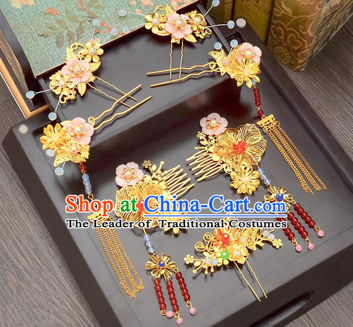Traditional Handmade Chinese Ancient Classical Hair Accessories Xiuhe Suit Pink Shell Flowers Tassel Hairpin Phoenix Coronet Complete Set, Step Shake Hair Sticks Hair Jewellery Hair Fascinators for Women