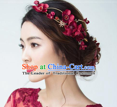 Top Grade Handmade Chinese Classical Hair Accessories Baroque Style Wedding Wine Red Flowers Headband Bride Hair Stick for Women