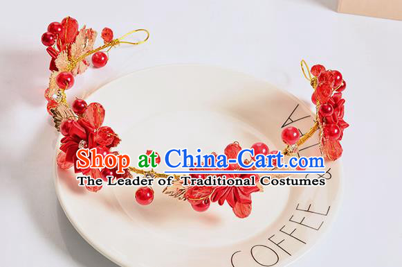 Top Grade Handmade Chinese Classical Hair Accessories Baroque Style Wedding Red Bowknot Flowers Headband Bride Hair Clasp for Women