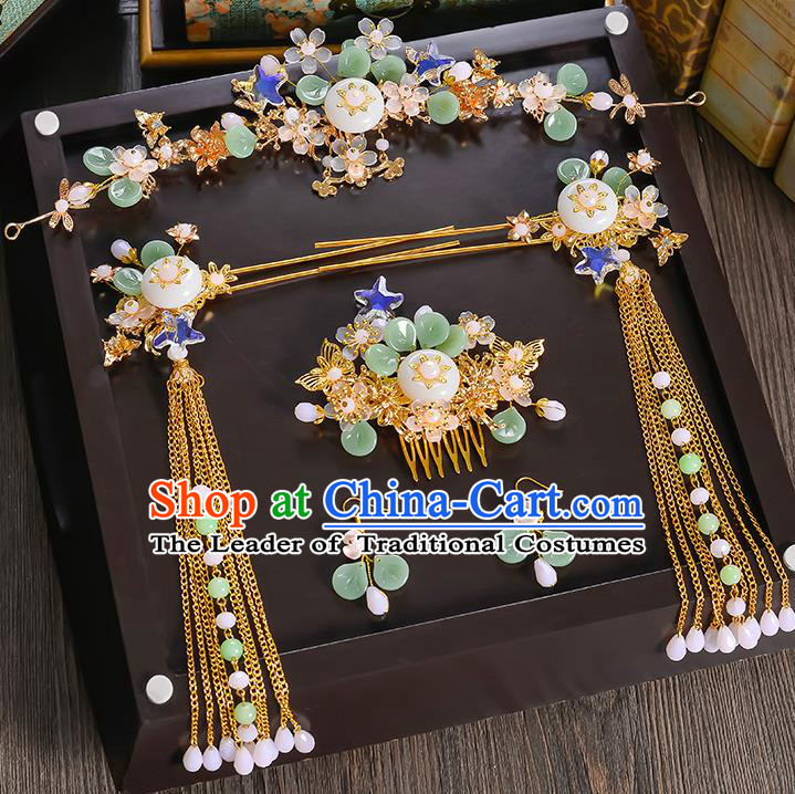 Traditional Handmade Chinese Ancient Wedding Hair Accessories Xiuhe Suit Phoenix Coronet Hair Comb Complete Set, Bride Hanfu Hairpins Hair Sticks Hair Jewellery for Women