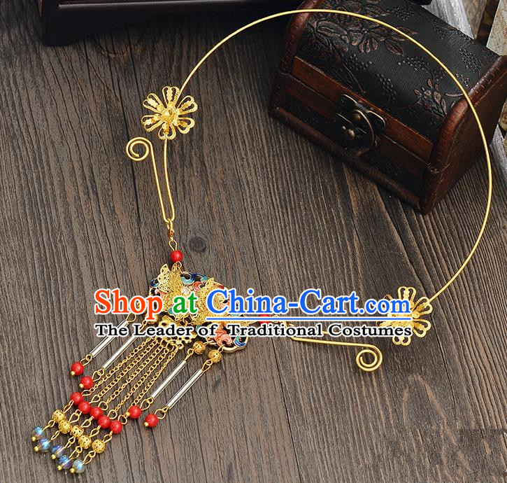 Top Grade Handmade Chinese Classical Jewelry Accessories Xiuhe Suit Wedding Necklace Bride Blueing Butterfly Tassel Collar Necklet for Women