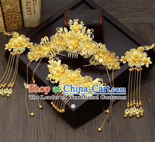 Traditional Handmade Chinese Ancient Wedding Hair Accessories Xiuhe Suit Golden Hair Comb Tassel Step Shake Phoenix Coronet Complete Set, Bride Hair Sticks Hair Jewellery for Women