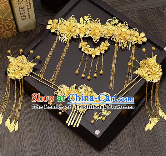 Traditional Handmade Chinese Ancient Wedding Hair Accessories Xiuhe Suit Golden Hair Comb Tassel Frontlet Phoenix Coronet Complete Set, Bride Hair Sticks Hair Jewellery for Women