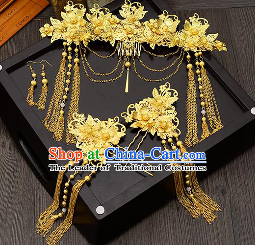 Traditional Handmade Chinese Ancient Wedding Hair Accessories Xiuhe Suit Golden Tassel Frontlet Phoenix Coronet Complete Set, Bride Hair Sticks Hair Jewellery for Women