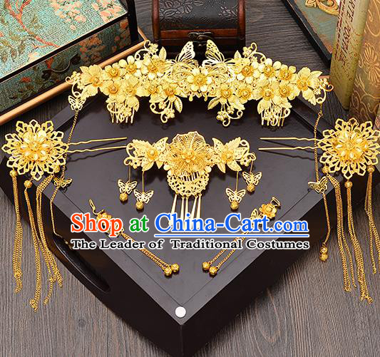 Traditional Handmade Chinese Ancient Wedding Hair Accessories Xiuhe Suit Pink Shell Tassel Frontlet Phoenix Coronet Complete Set, Bride Hair Sticks Hair Jewellery for Women