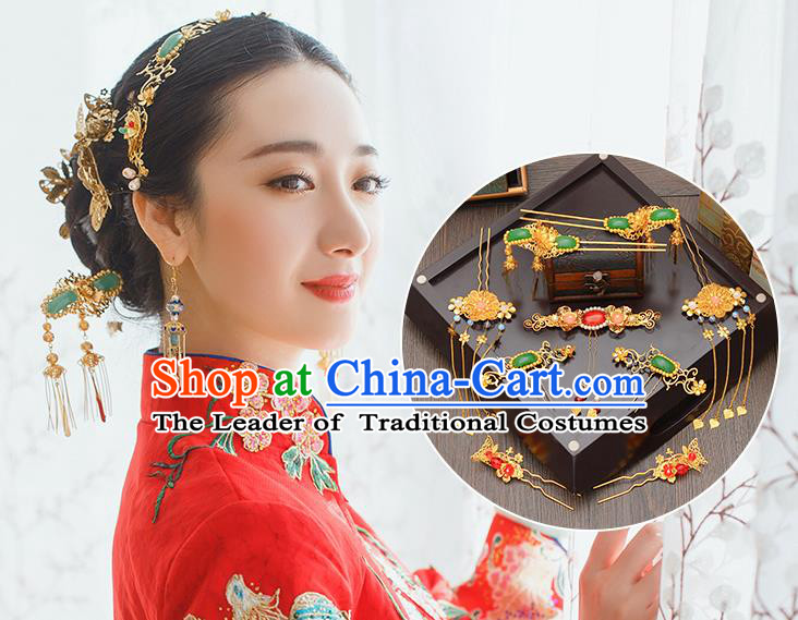 Traditional Handmade Chinese Ancient Wedding Hair Accessories Xiuhe Suit Jade Tassel Phoenix Coronet Complete Set, Bride Hair Sticks Hair Jewellery for Women