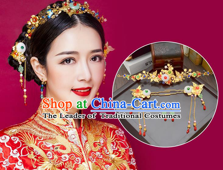 Traditional Handmade Chinese Ancient Wedding Hair Accessories Xiuhe Suit Green Jade Tassel Phoenix Coronet Complete Set, Bride Hair Sticks Hair Jewellery for Women