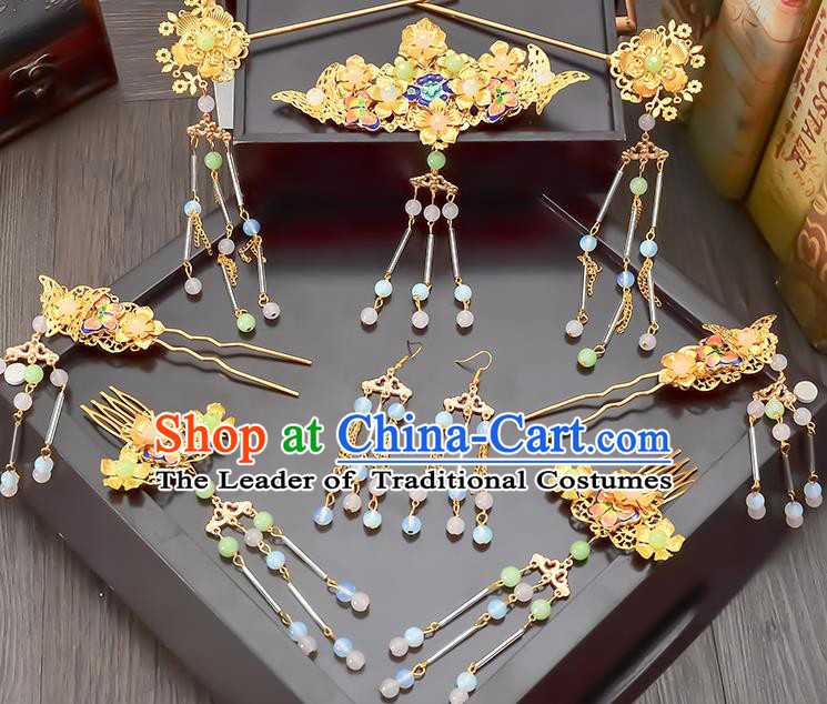 Traditional Handmade Chinese Ancient Wedding Hair Accessories Xiuhe Suit Tassel Step Shake Frontlet Complete Set, Bride Hair Sticks Hair Jewellery for Women