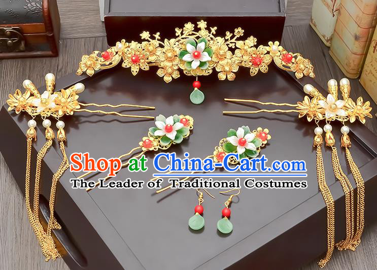 Traditional Handmade Chinese Ancient Wedding Hair Accessories Xiuhe Suit Tassel Step Shake Pearls Frontlet Complete Set, Bride Hair Sticks Hair Jewellery for Women