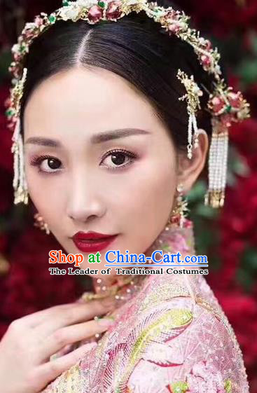 Traditional Handmade Chinese Ancient Wedding Hair Accessories Xiuhe Suit Tassel Step Shake Pomegranate Frontlet Complete Set, Bride Hanfu Hair Sticks Hair Jewellery for Women