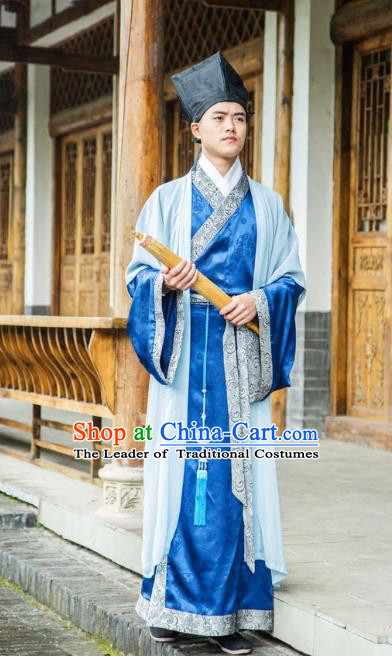 Traditional Chinese Han Dynasty Nobility Childe Hanfu Half-arm Shawl Long Robe Costume, China Ancient Scholar Clothing for Men